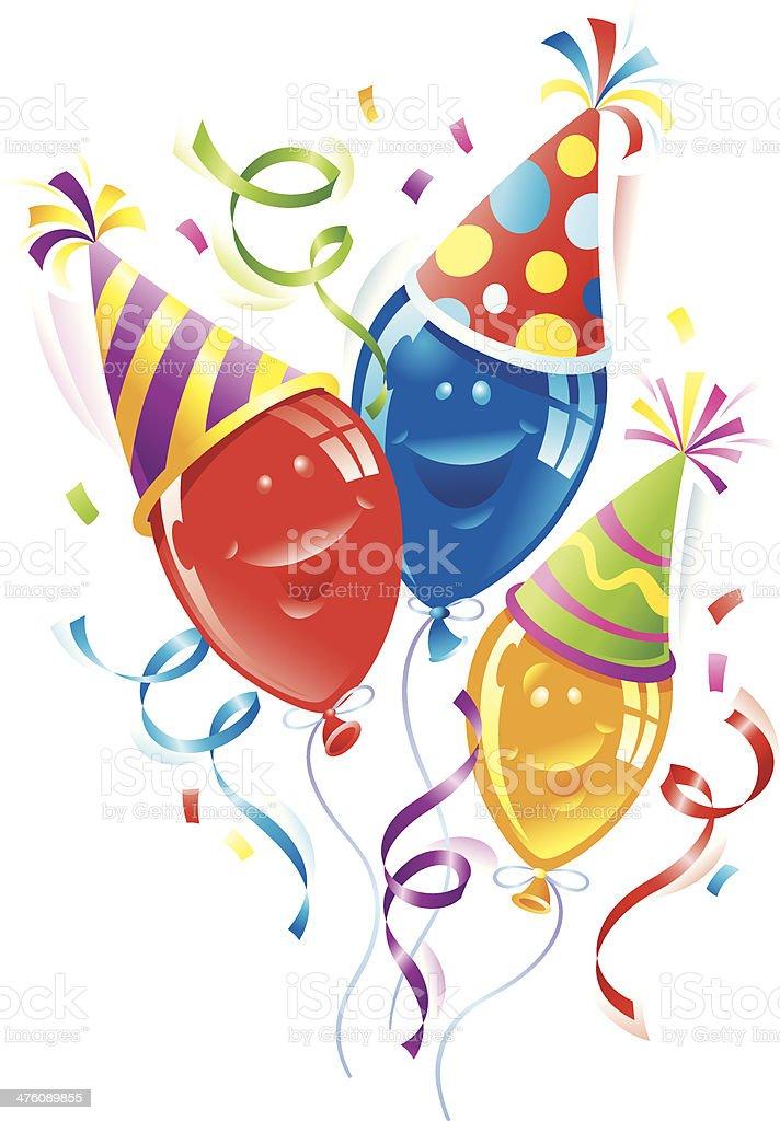 Balloons Party Hats C vector art illustration