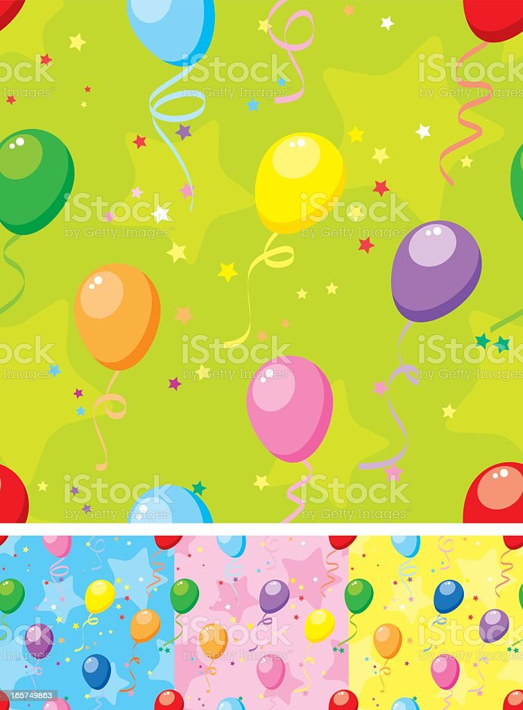 Balloons seamless pattern with confetti royalty-free stock vector art