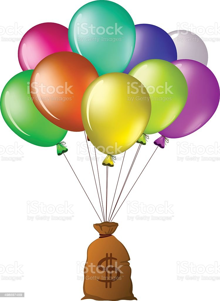 Balloons with a bag of money royalty-free stock vector art