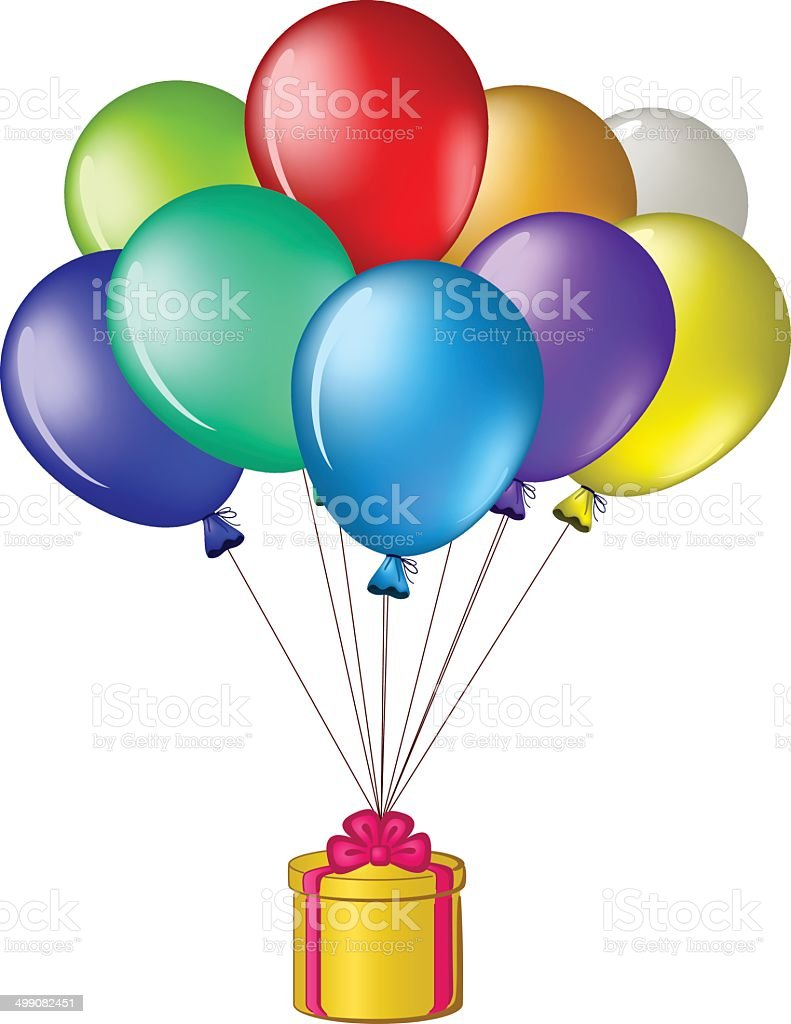 Balloons with a gift box royalty-free stock vector art