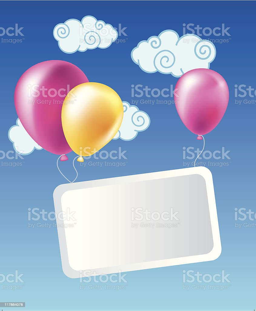 Balloons with card royalty-free stock vector art