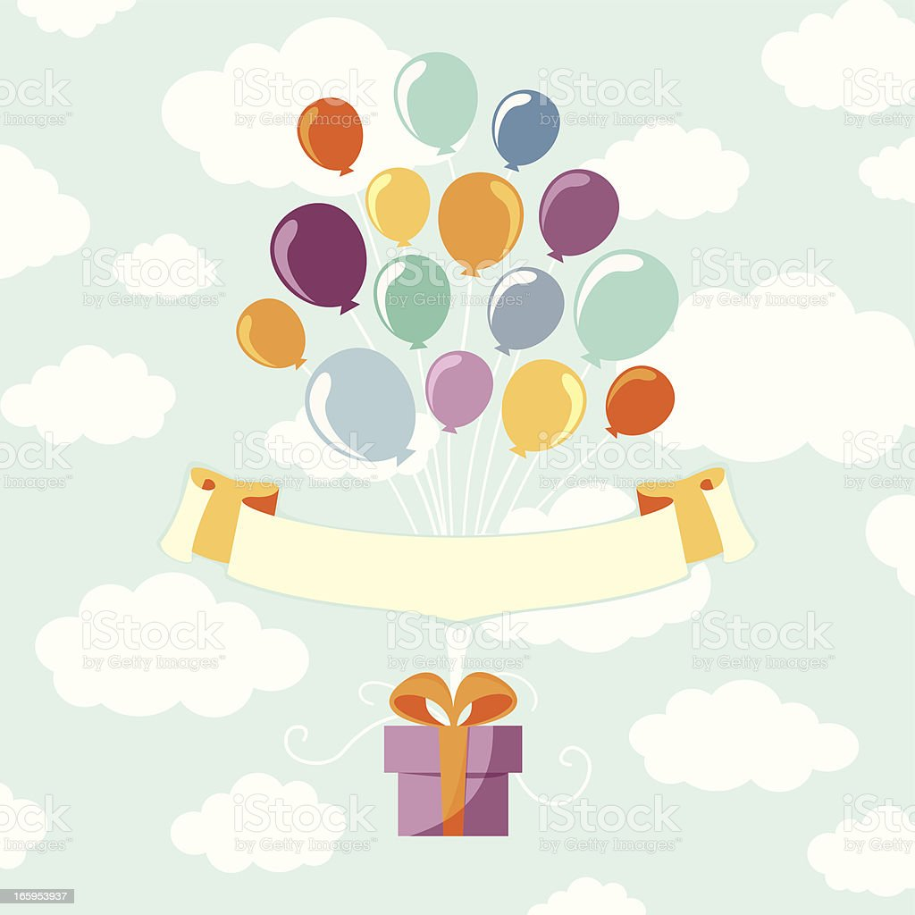 Balloons with gift royalty-free stock vector art