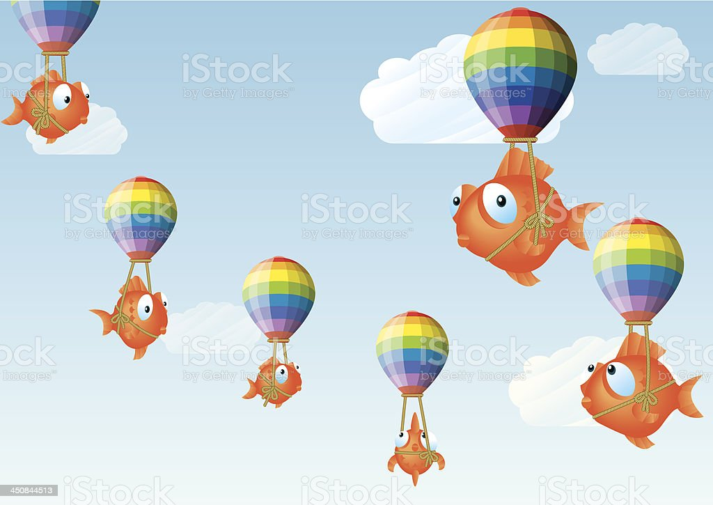 Balloons with Goldfish royalty-free stock vector art