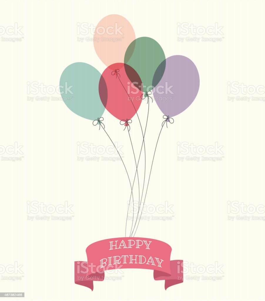 Balloons with Happy Birth ribon on a samles background vector art illustration