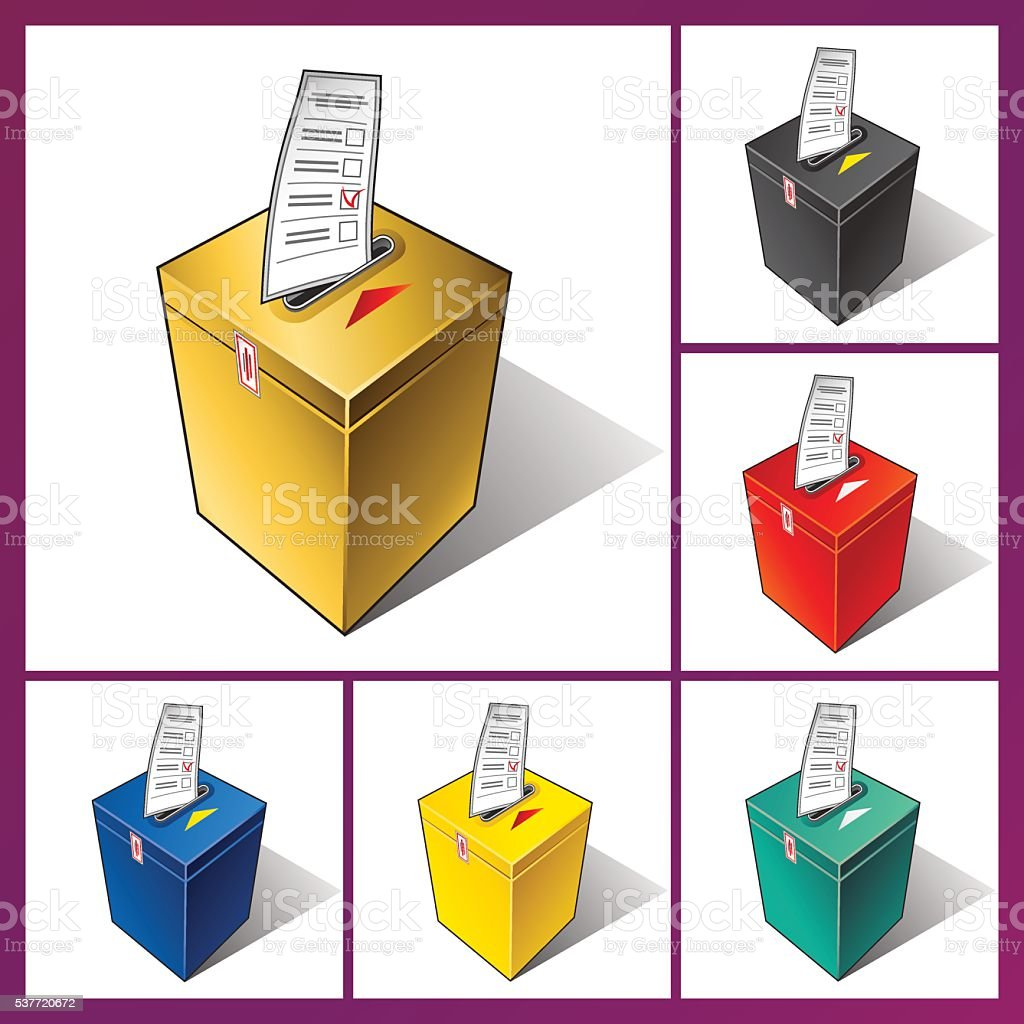 Ballot box and ballot. vector art illustration