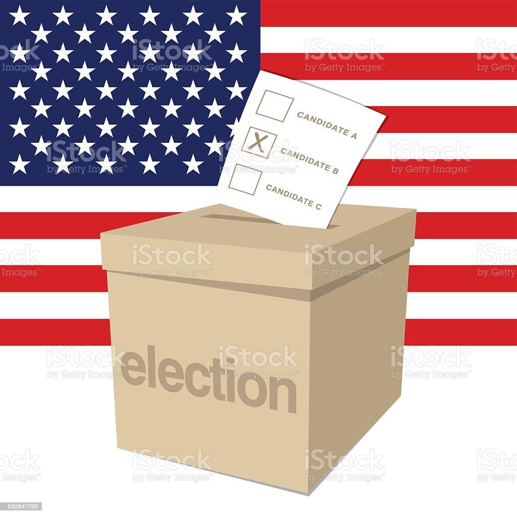 Ballot Box for a US election vector art illustration