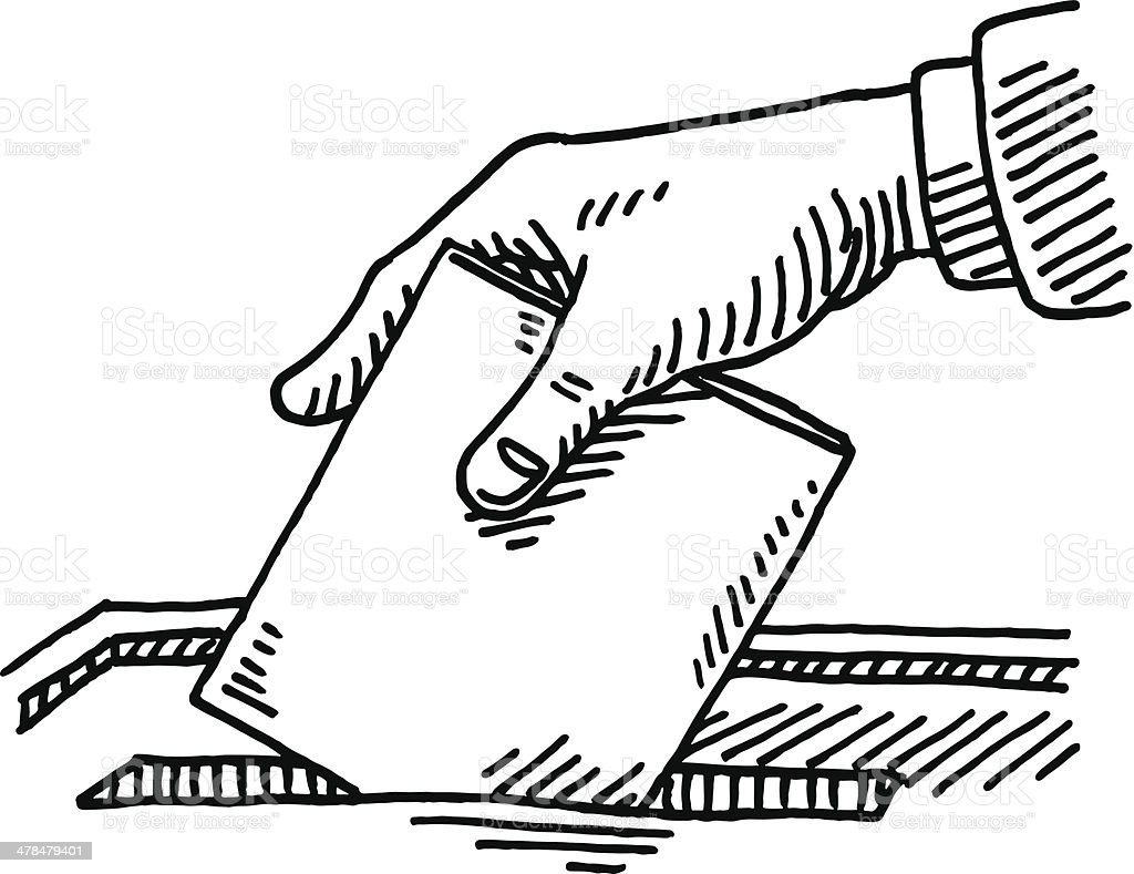 Ballot Box Hand Inserting Voting Paper Drawing vector art illustration