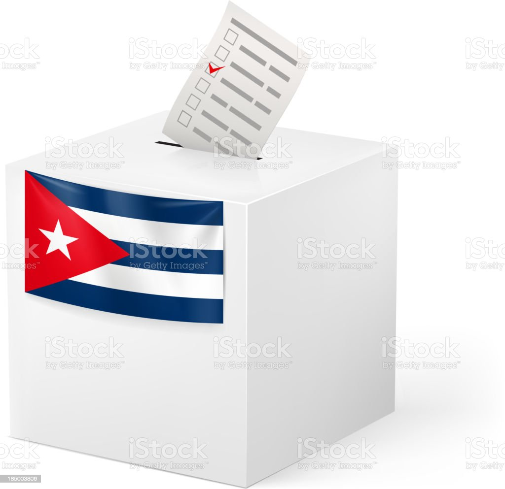 Ballot box with voicing paper. Cuba. vector art illustration