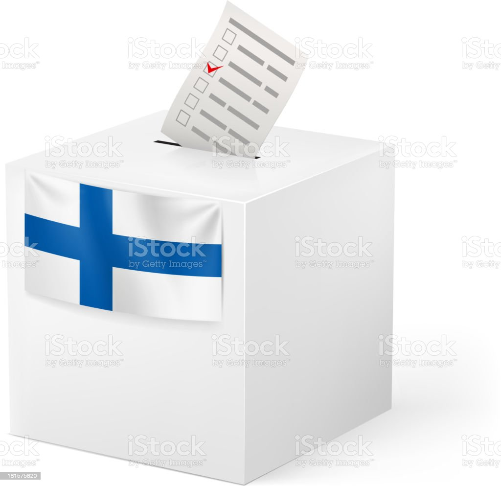 Ballot box with voicing paper. Finland. vector art illustration