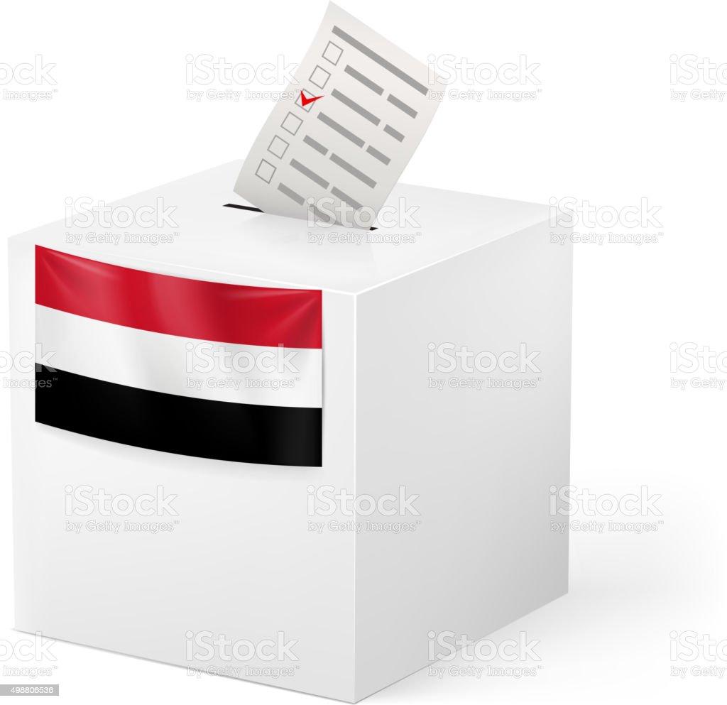 Ballot box with voting paper. Yemen vector art illustration