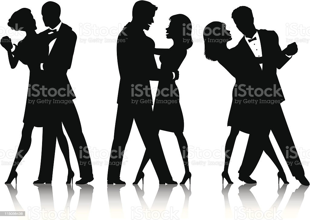 Ballroom dance silhouettes vector art illustration