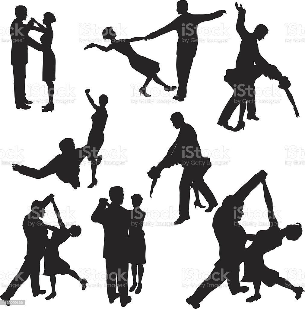Ballroom Dancing Silhouette Collection royalty-free stock vector art