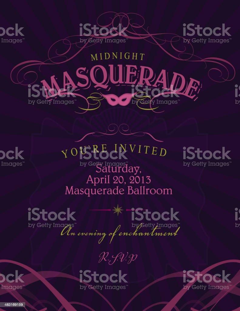Ballroom Masquerade invitation design template with mask vector art illustration