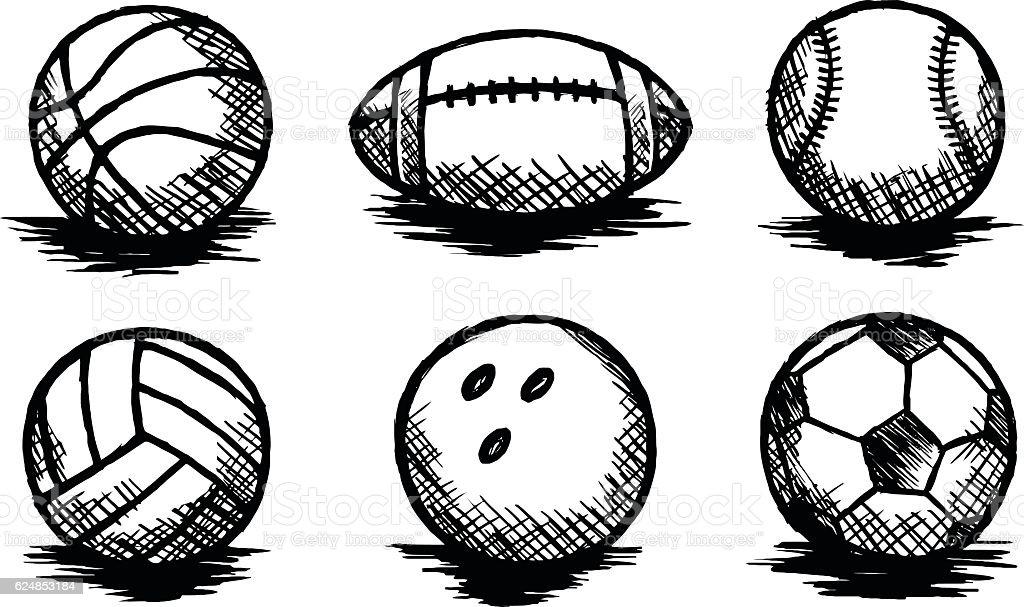 Balls Doodle, Sports, Team Sport, Sketch vector art illustration