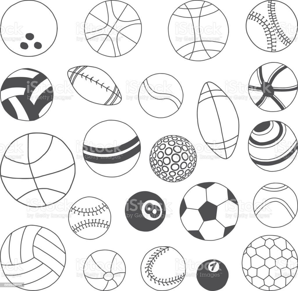 Balls Doodles Set vector art illustration
