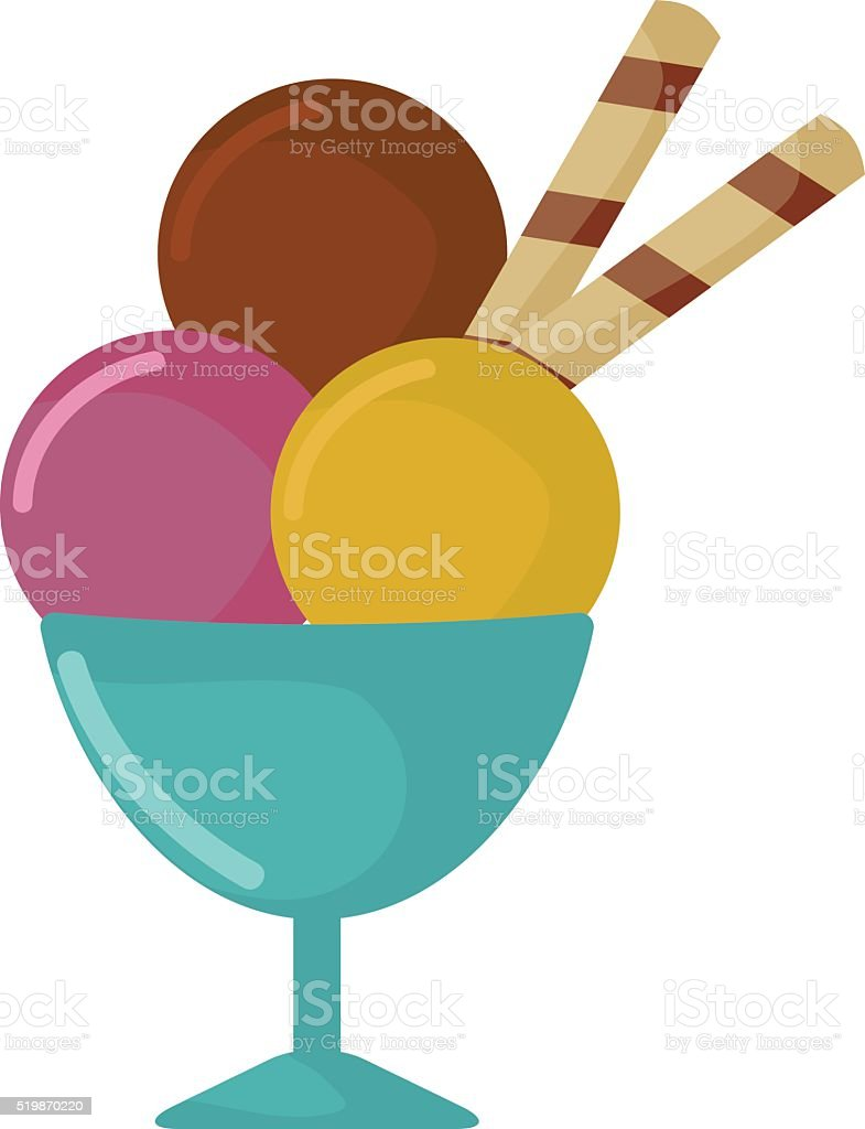 Balls of ice cream in cup cartoon vector food illustration vector art illustration