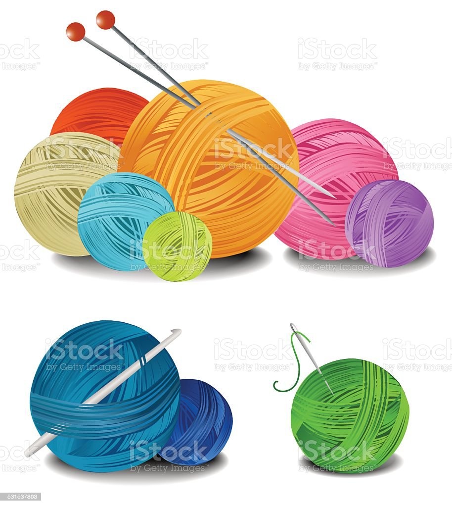 Balls of wool vector art illustration