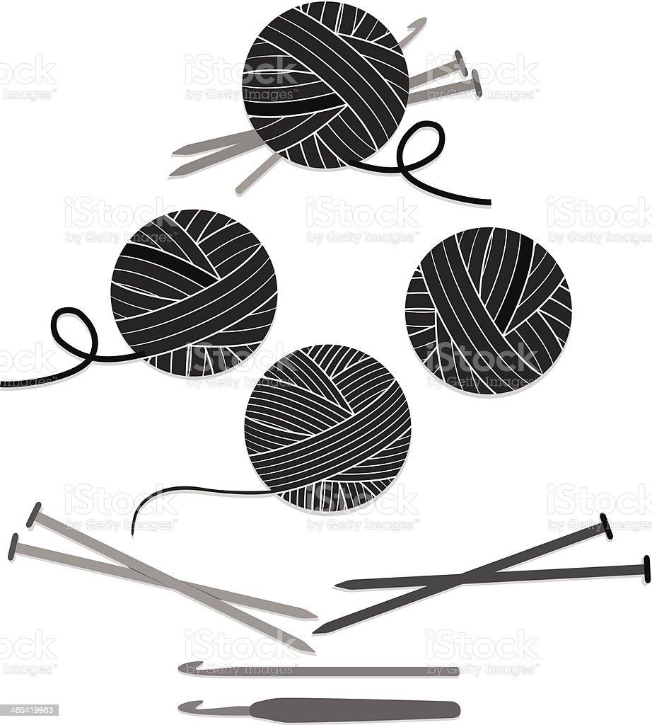 Balls of Yarn, Knitting Needles, Crochet Hooks Set, Icons vector art illustration