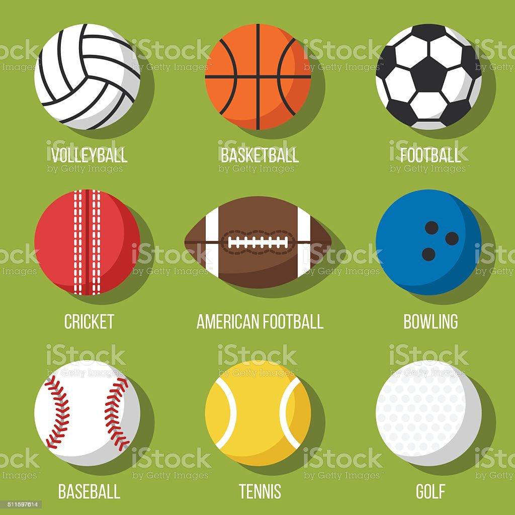 Balls set vector art illustration