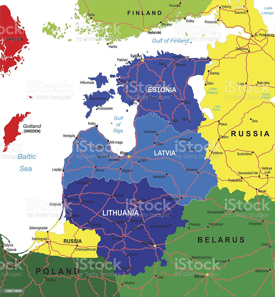 Baltic states map royalty-free stock vector art