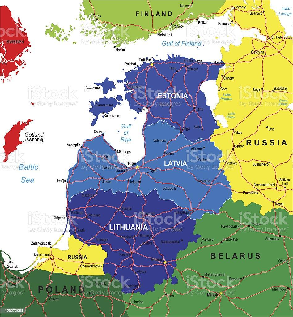 Baltic states map vector art illustration
