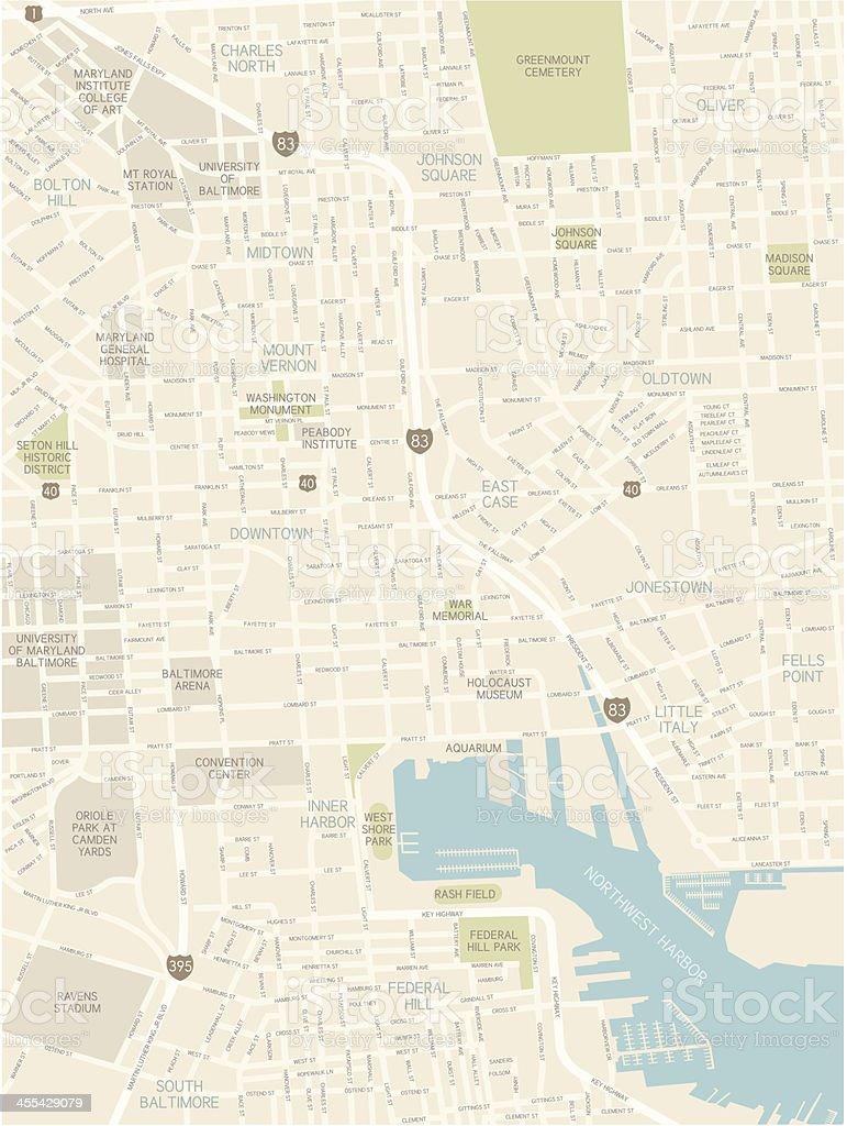 Baltimore Downtown Map vector art illustration