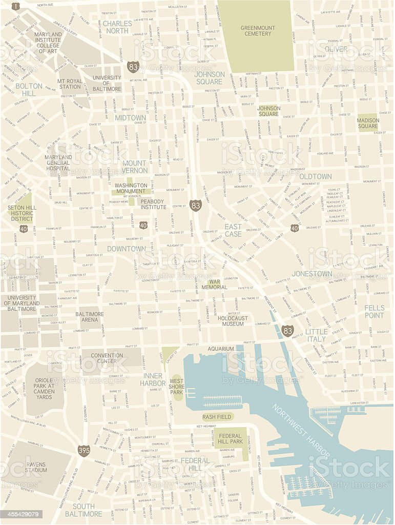 Baltimore Downtown Map vector art illustration