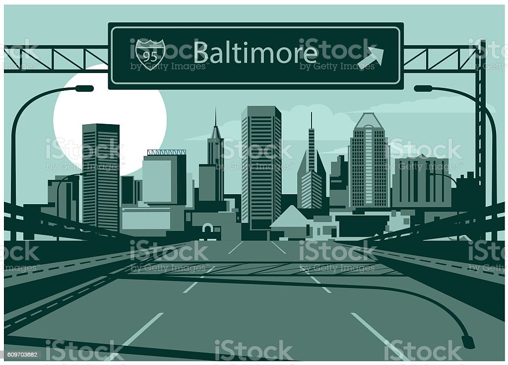 Baltimore skyline vector art illustration