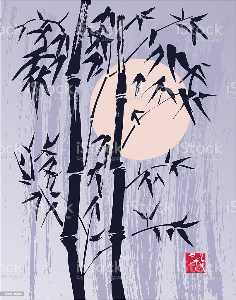 Bamboo and Moon in  Wind royalty-free stock vector art