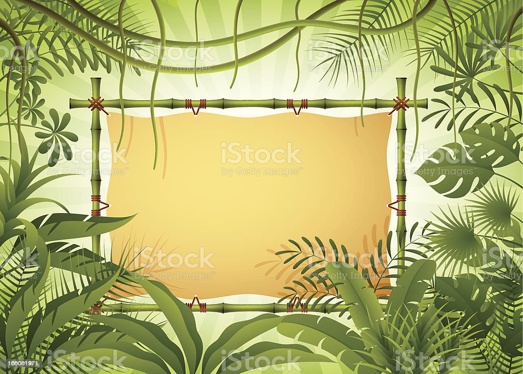 Bamboo Banner in the Jungle vector art illustration