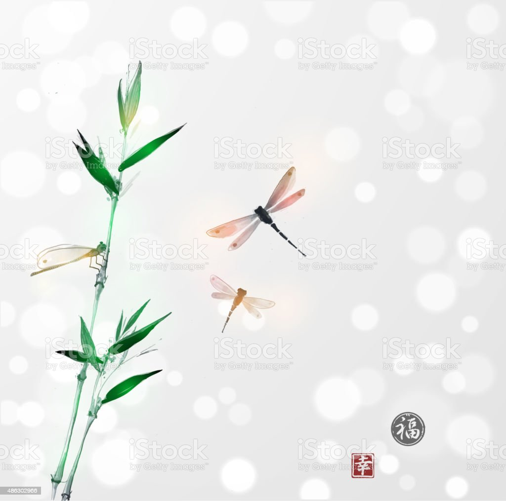 Bamboo branch and three dragonflies vector art illustration
