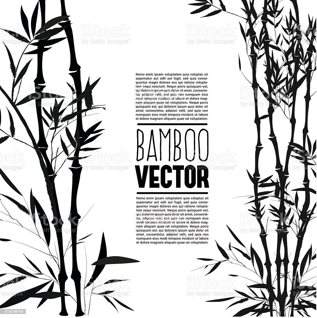 Bamboo bush, ink painting over the white background vector art illustration