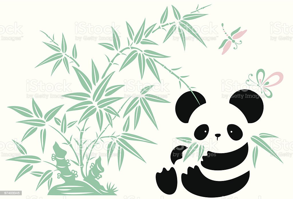 Bamboo, Butterfly , Dragonfly and Panda vector art illustration