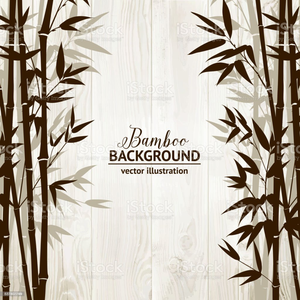 Bamboo forest card vector art illustration