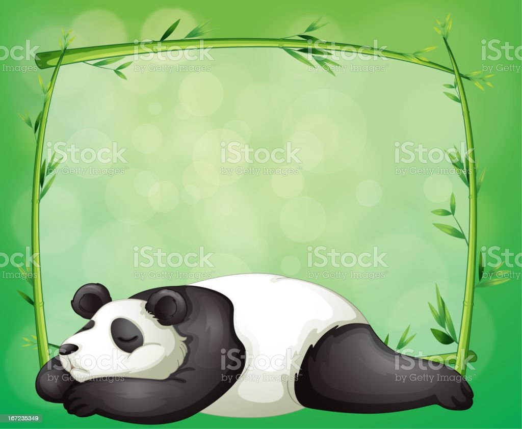 Bamboo frame and a panda royalty-free stock vector art
