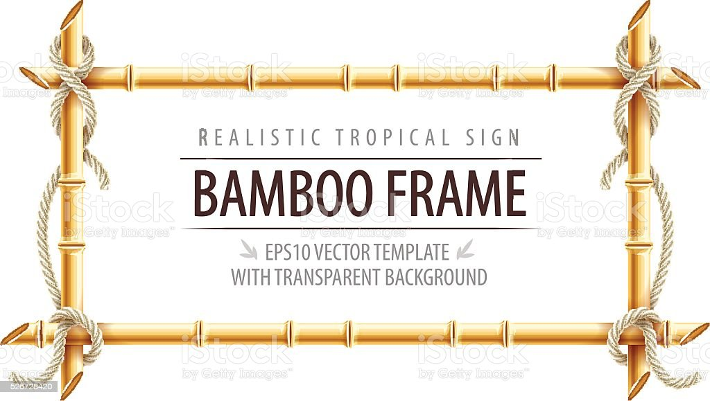 Bamboo frame template for tropical signboard with ropes and copypaste vector art illustration