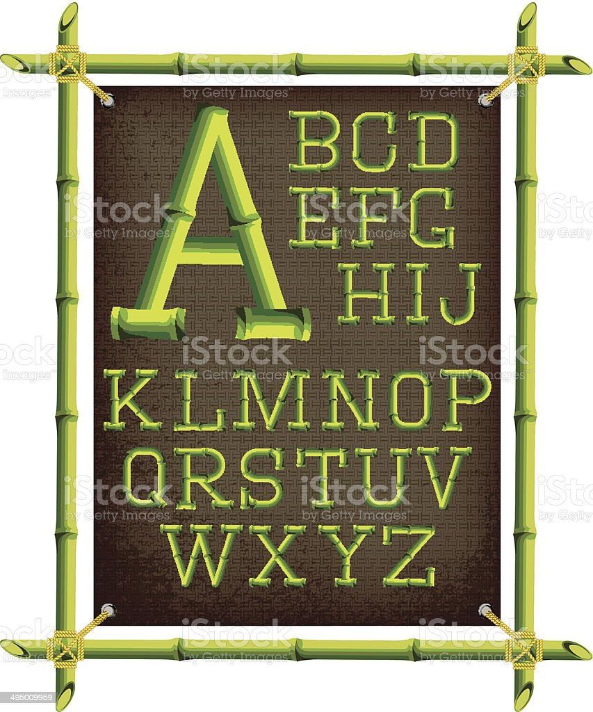 bamboo frame with canvas and stylized alphabet vector art illustration