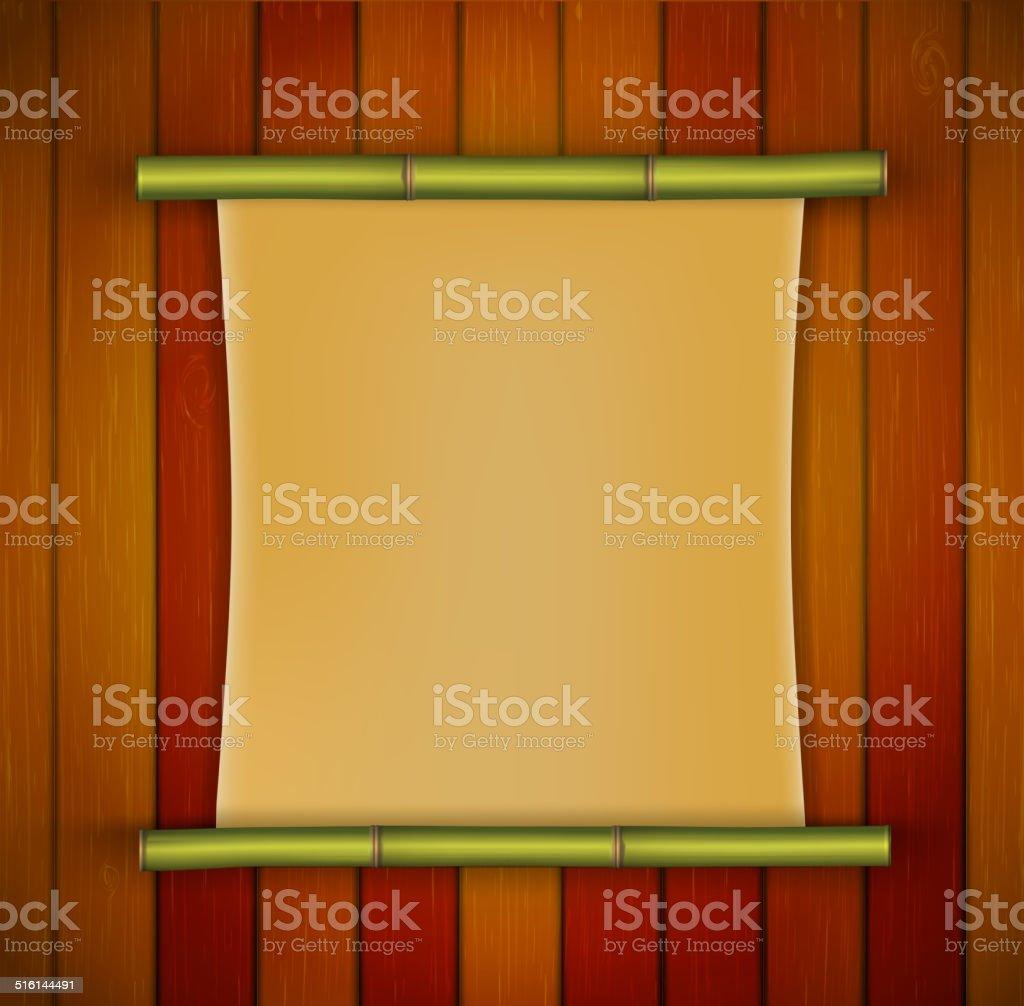 Bambusrahmen Mit Pergament Banner Auf Der Hölzernen Hintergrund ...