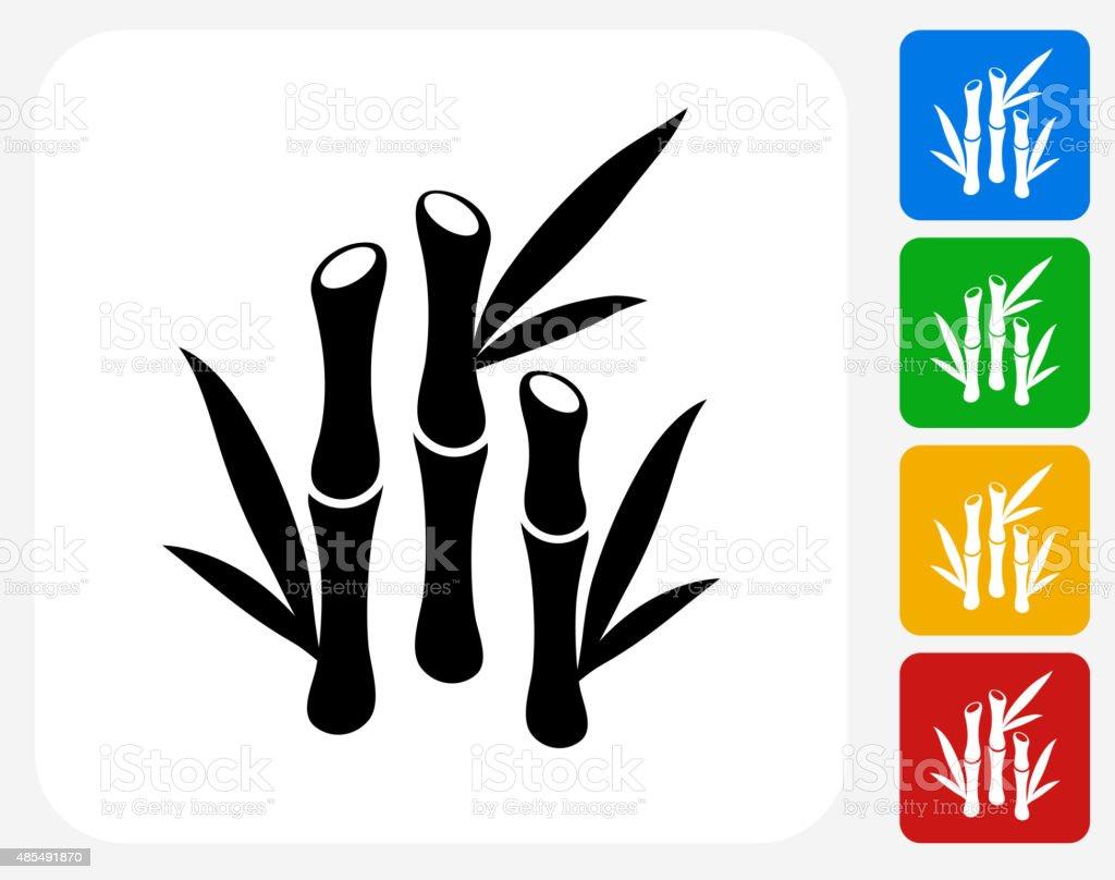 Bamboo Icon Flat Graphic Design vector art illustration