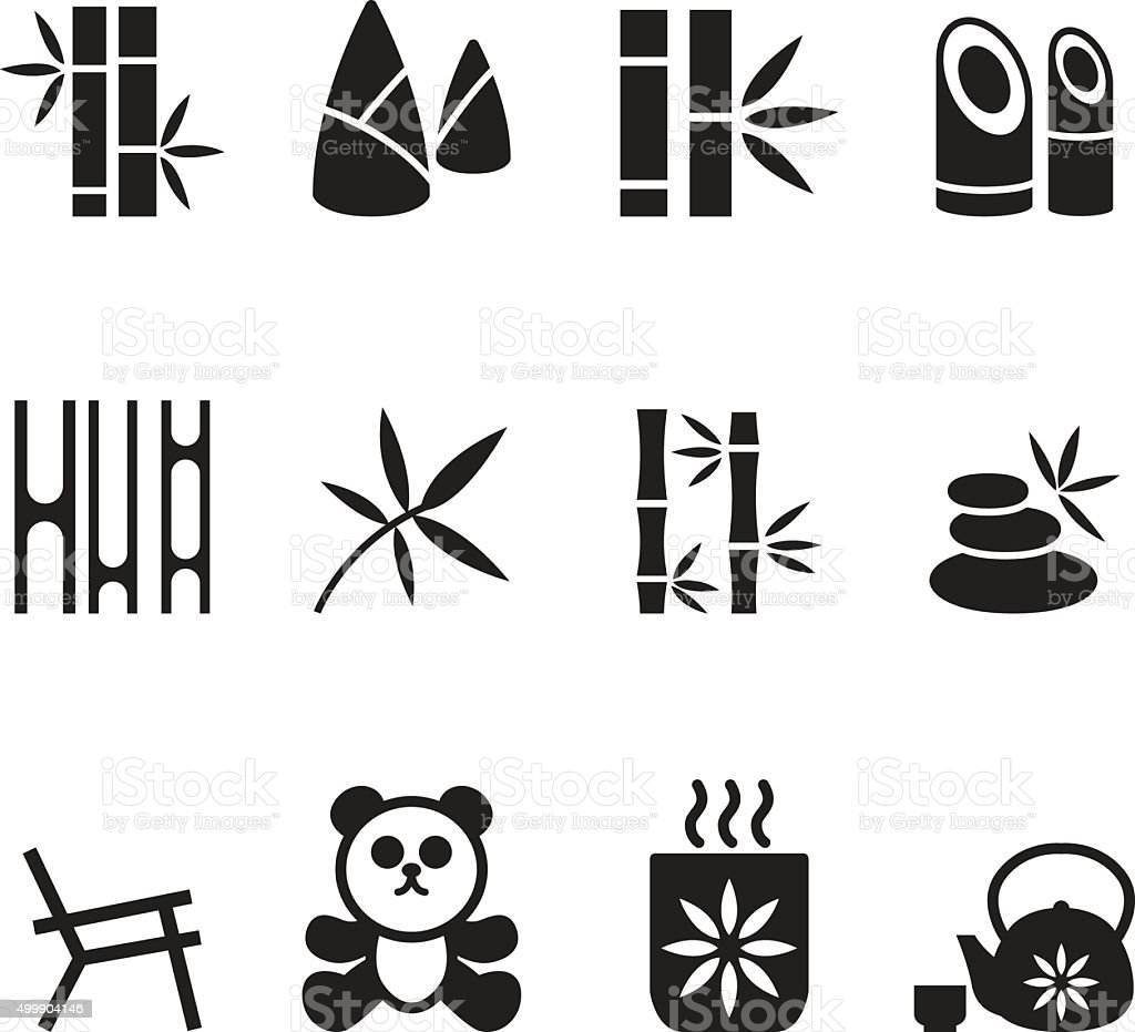 Bamboo icons set Vector vector art illustration