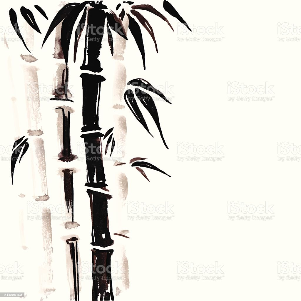 Bamboo in Chinese style. vector art illustration