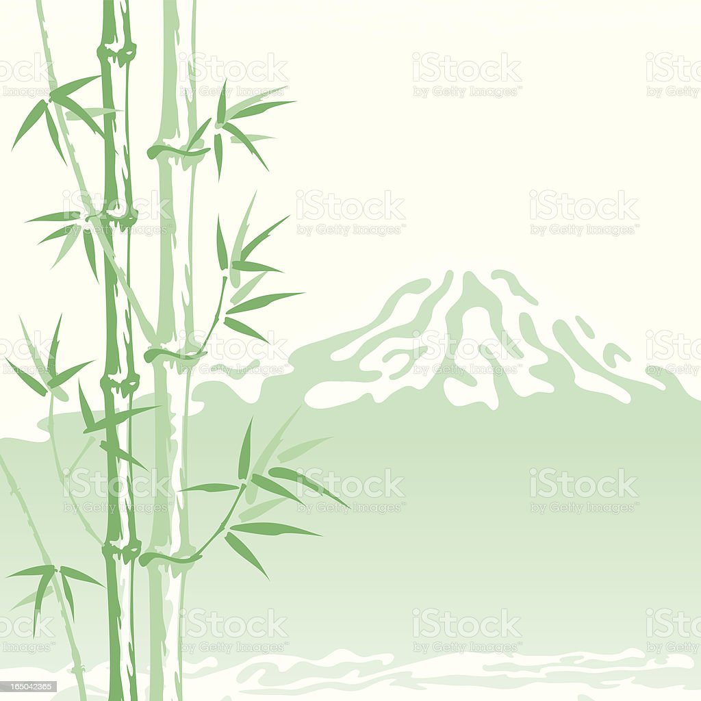 Bamboo in the shadow of Mount Fuji (Vector) royalty-free stock vector art