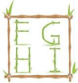 Bamboo Letter Alphabet Green Set B Vector