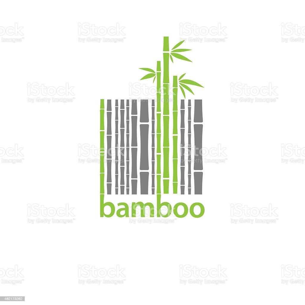 Logotipo de bambu símbolo Estilizada como código de barras vetor e ilustração royalty-free royalty-free