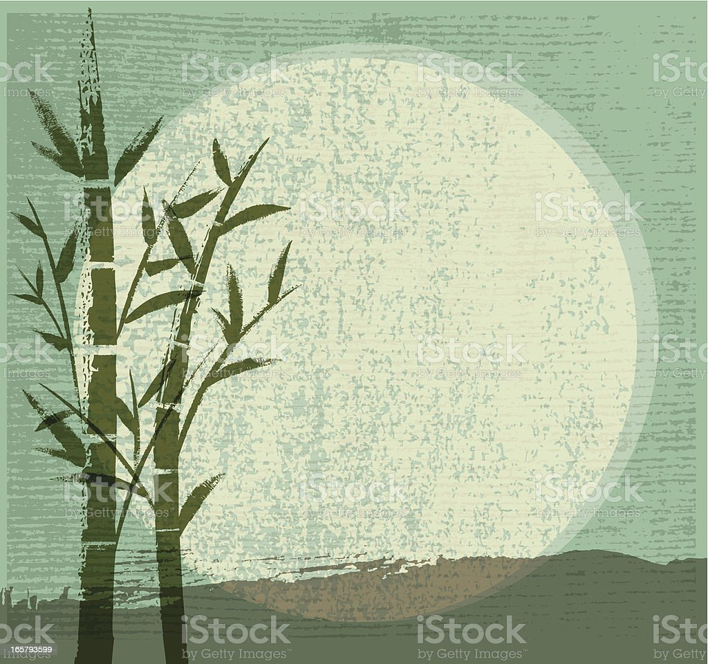 Bamboo, Moon and Mountain vector art illustration