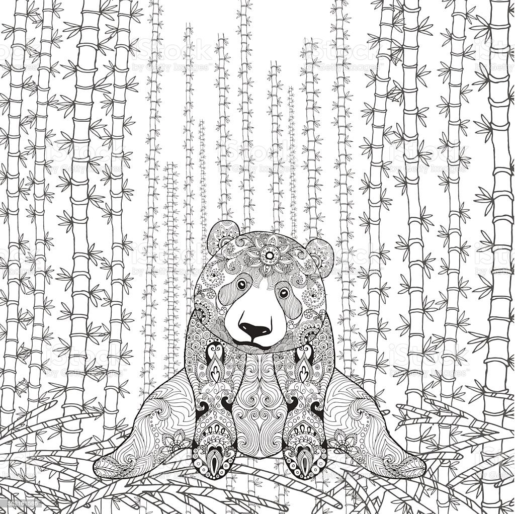 bamboo panda coloring page stock vector art 502161586 istock
