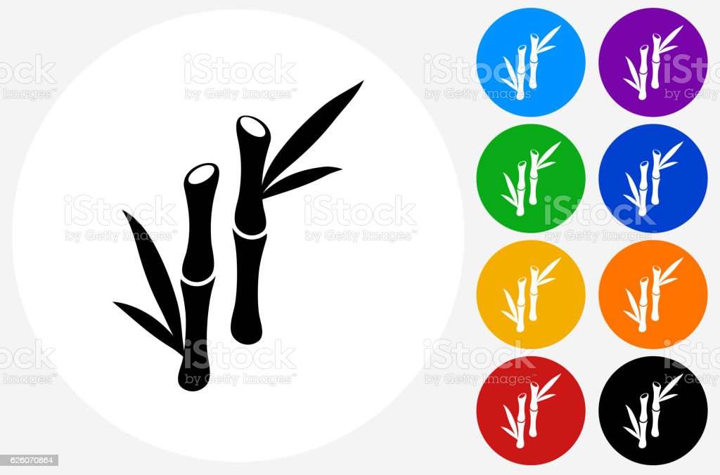 Bamboo Plant Icon on Flat Color Circle Buttons vector art illustration