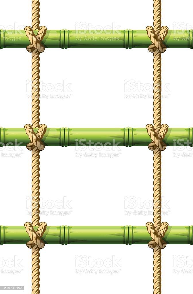 escalera de cuerda de bamb vigas conectado con nudos libre de derechos libre de