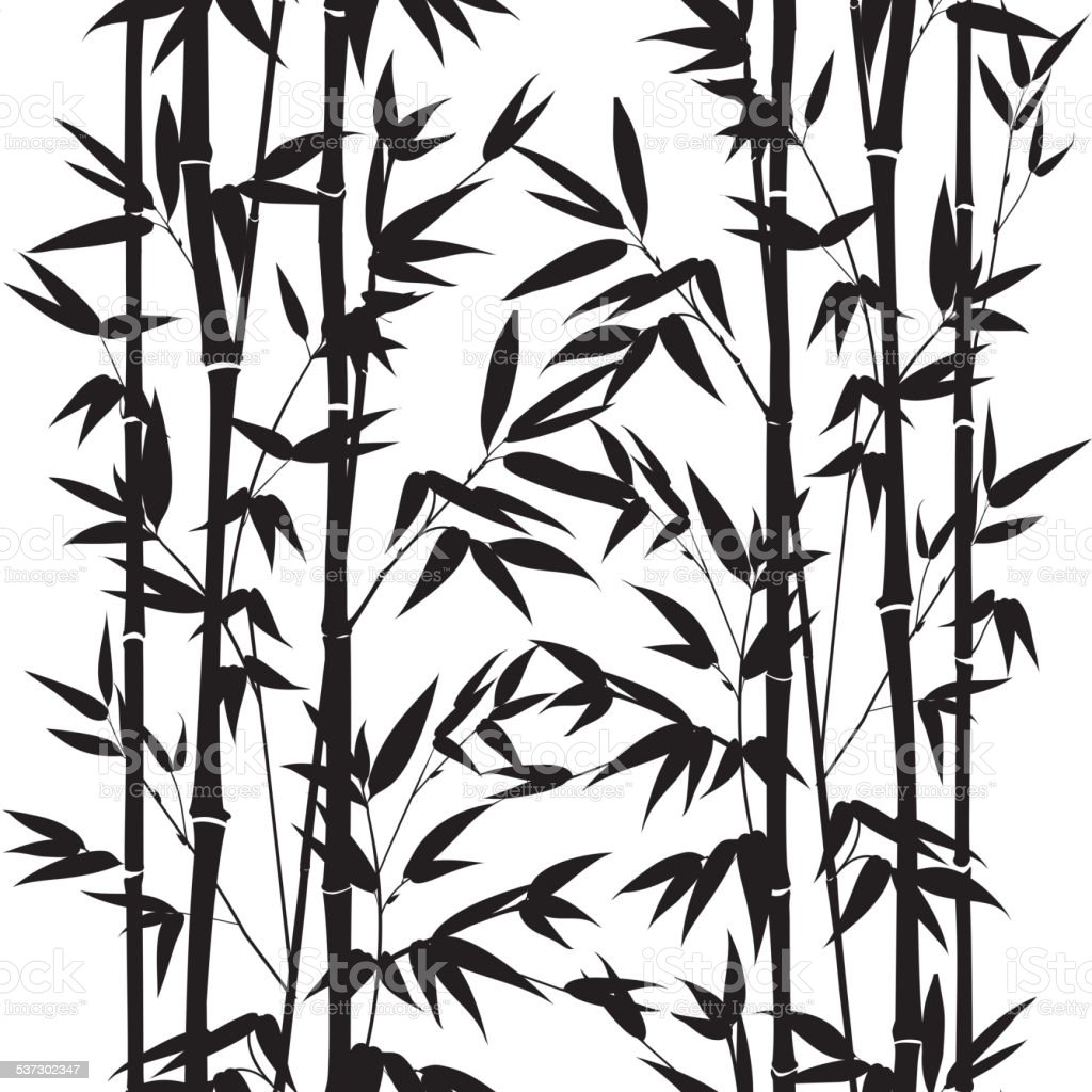 Bamboo seamless pattern vector art illustration