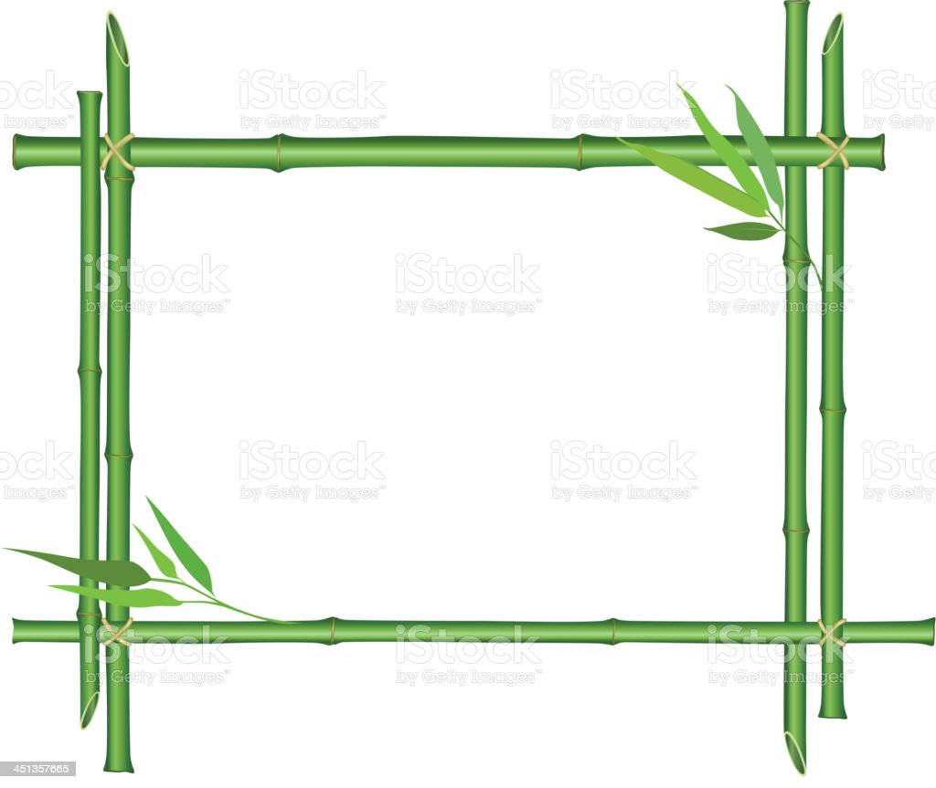 Bamboo stems floral border with copy space royalty-free stock vector art